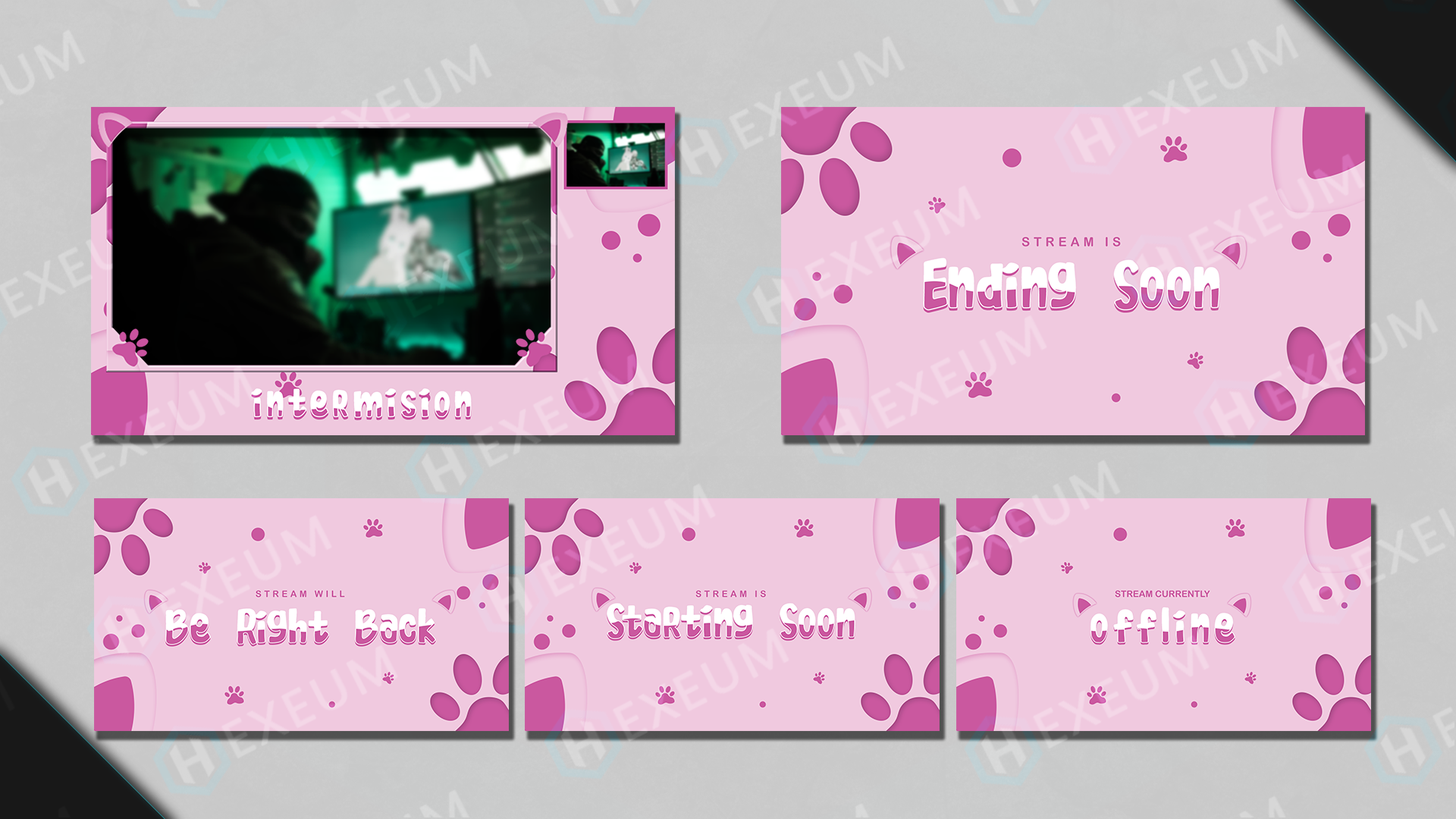 Kitty Cute Cat Themed Twitch Overlay Package Hexeum