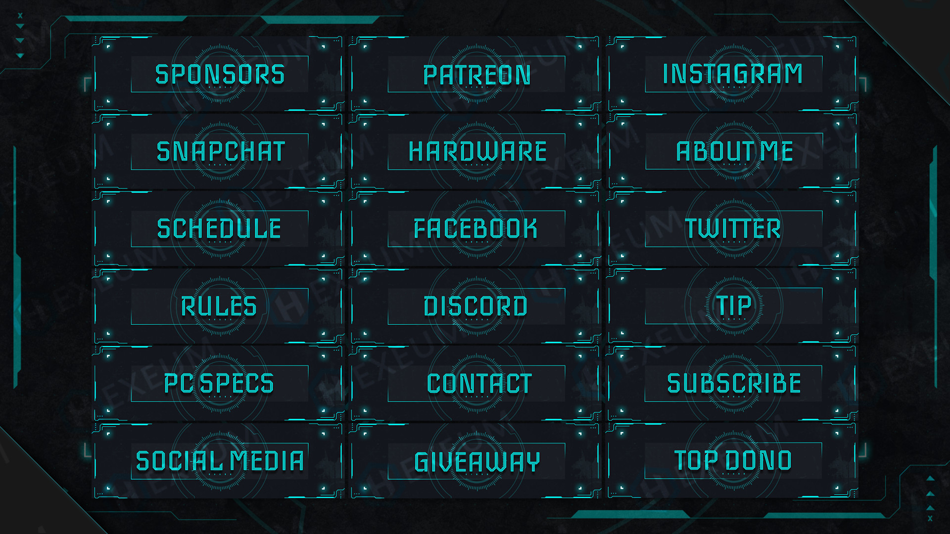 futuristic twitch panels