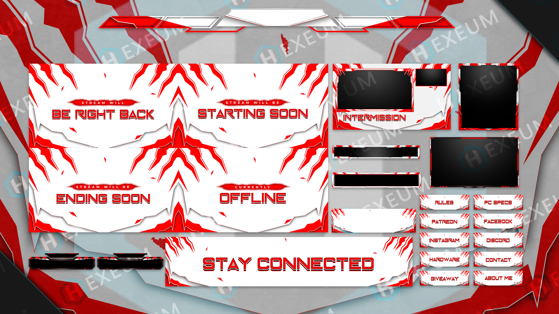 red and white twitch overlay