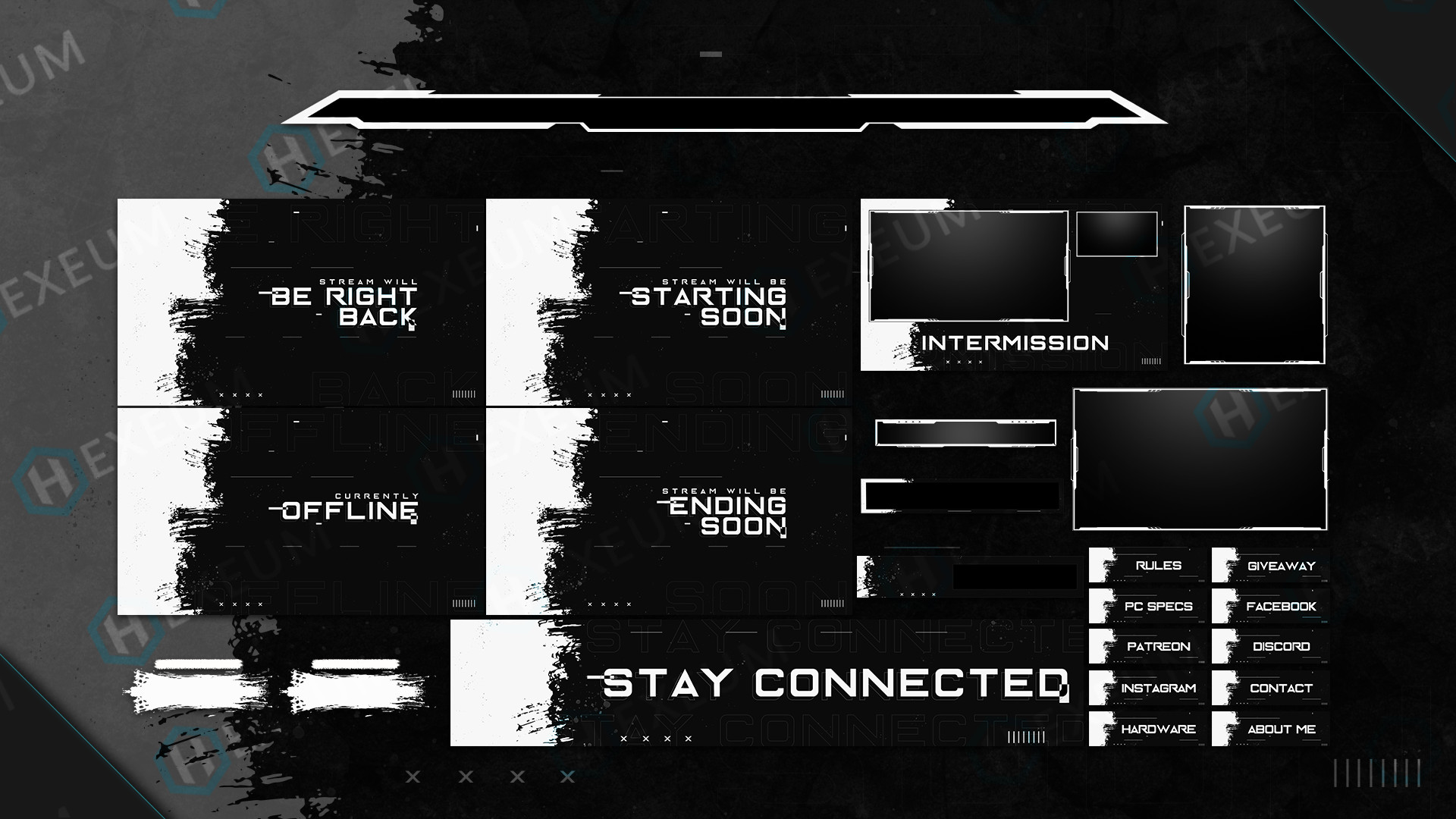 black and white twitch overlay