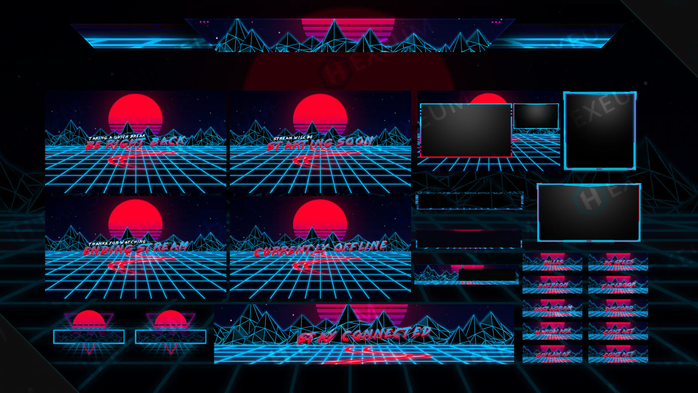 synthwave twitch overlay