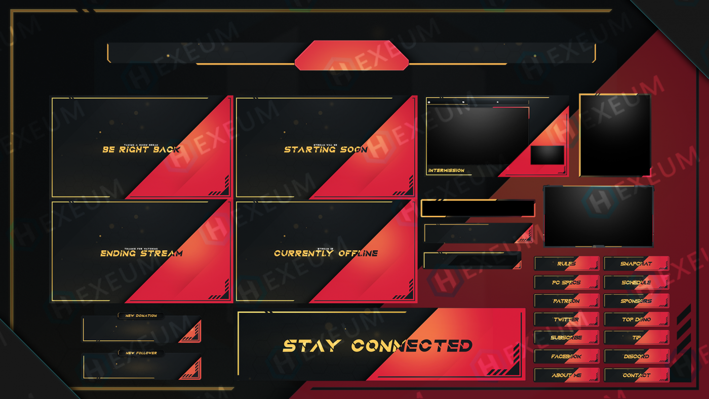red and black twitch overlay