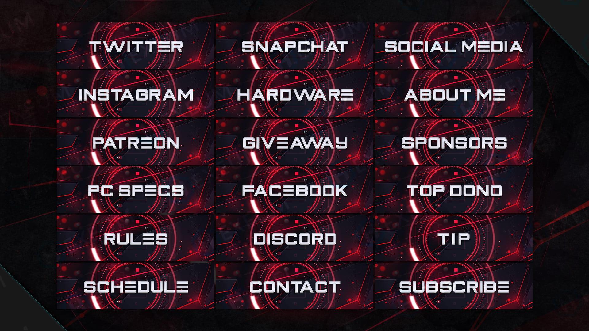 futuristic red webcam overlay