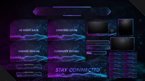 purple and blue twitch overlay