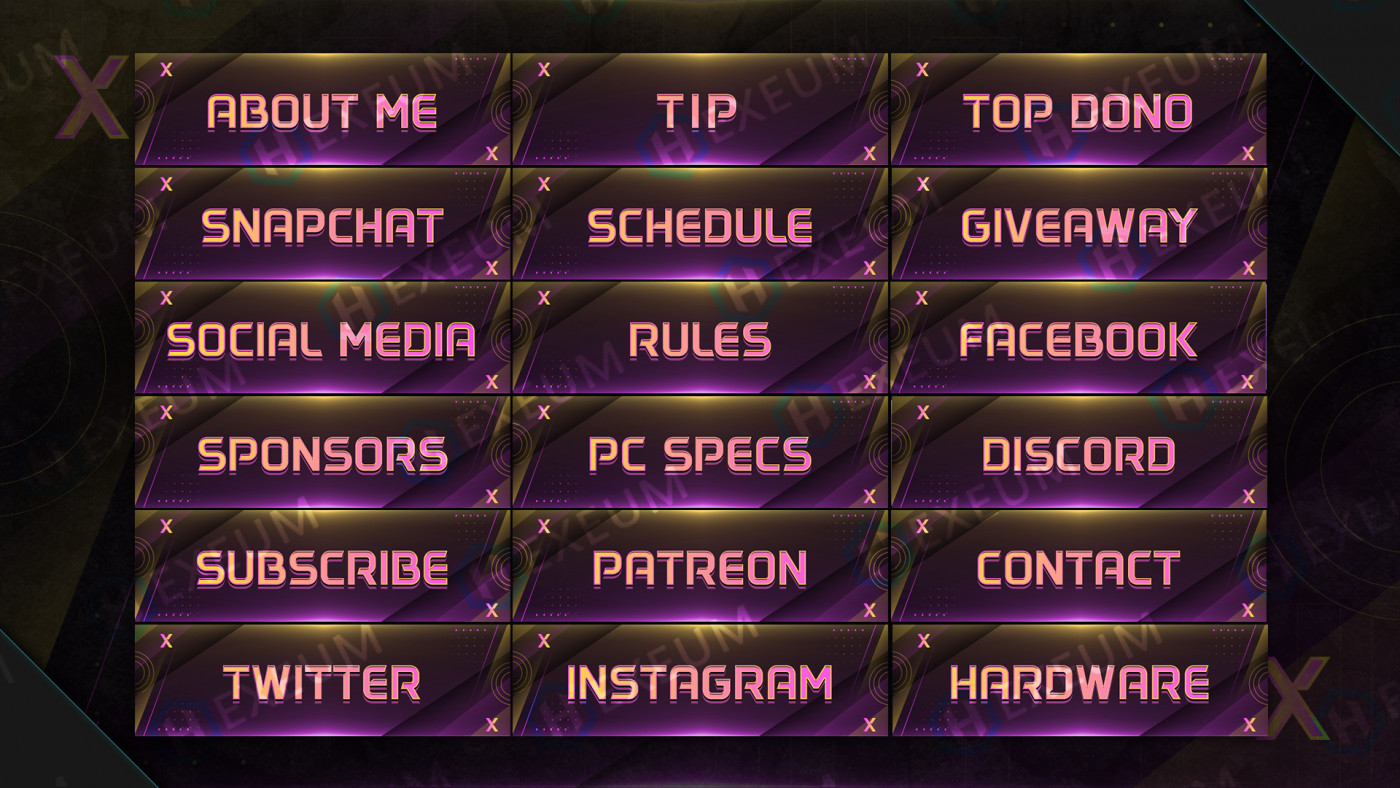 multicolored twitch panels
