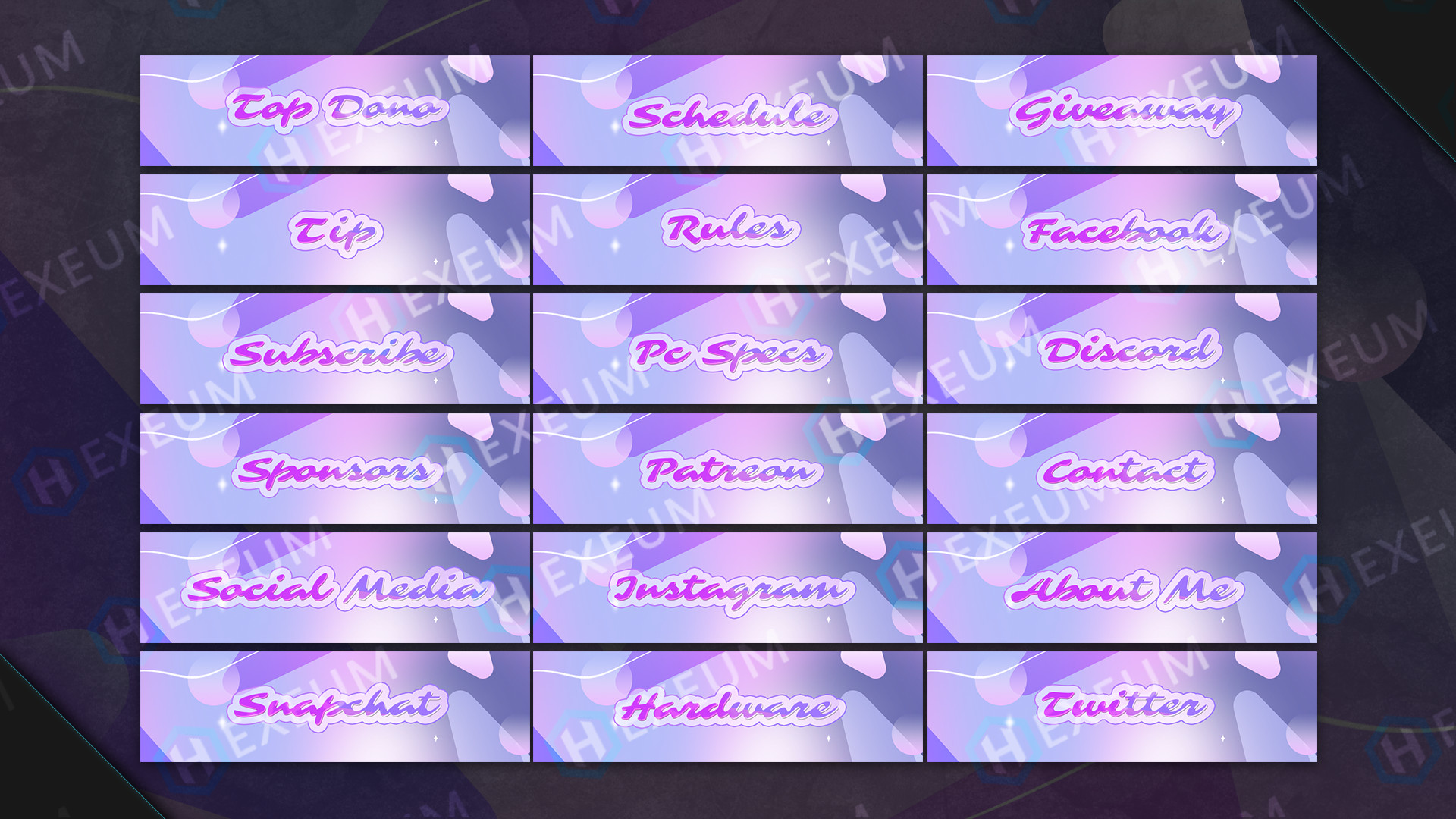 Dreamy Pink Twitch Panels