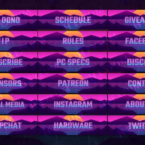 Synthwave Twitch Panels